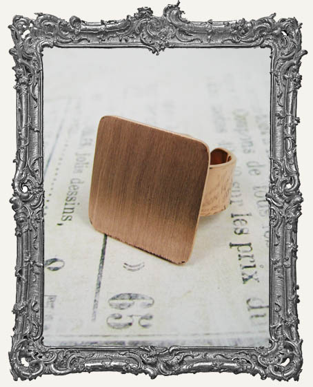 COPPER FLAT Ring Blank Adjustable SQUARE