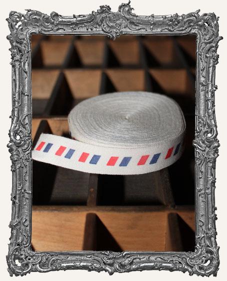 Cotton Ribbon 1 Yard - Airmail Stripe
