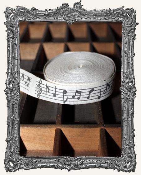 Cotton Ribbon 1 Yard - Music Notes