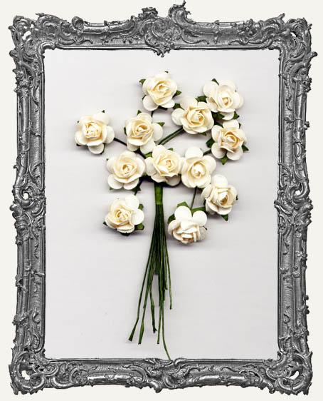 Cream Mini Paper Roses - 12