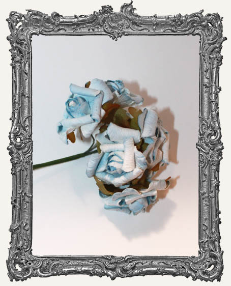 CURLY PETAL Medium Paper Roses - Light Blue