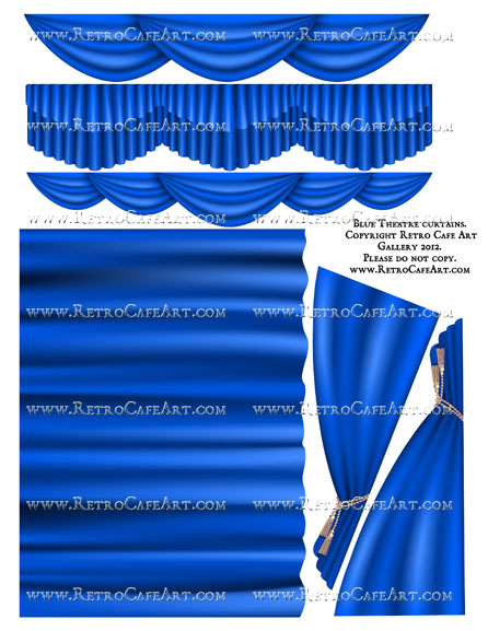 Large Blue Theatre Curtain Collage Sheet