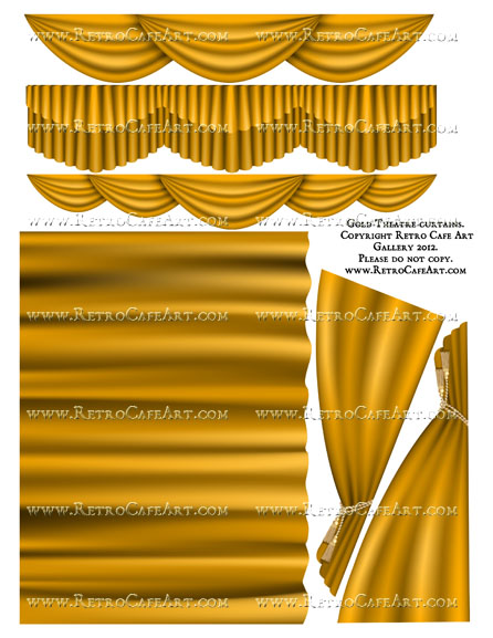 Large Gold Theatre Curtain Collage Sheet