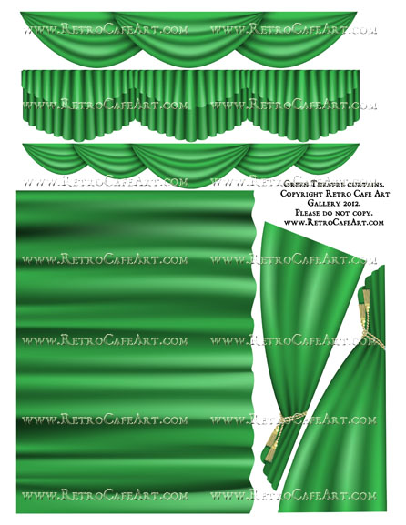 Large Green Theatre Curtain Collage Sheet