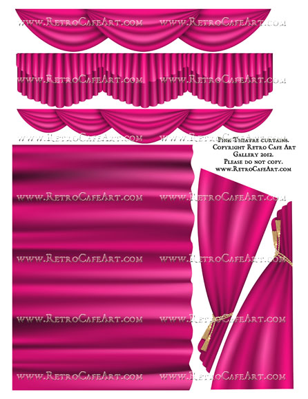 Large Pink Theatre Curtain Collage Sheet