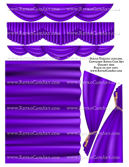 Large Purple Theatre Curtain Collage Sheet