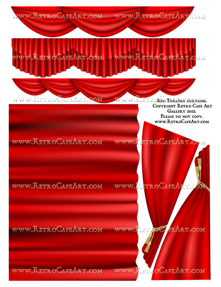 Large Red Theatre Curtain Collage Sheet