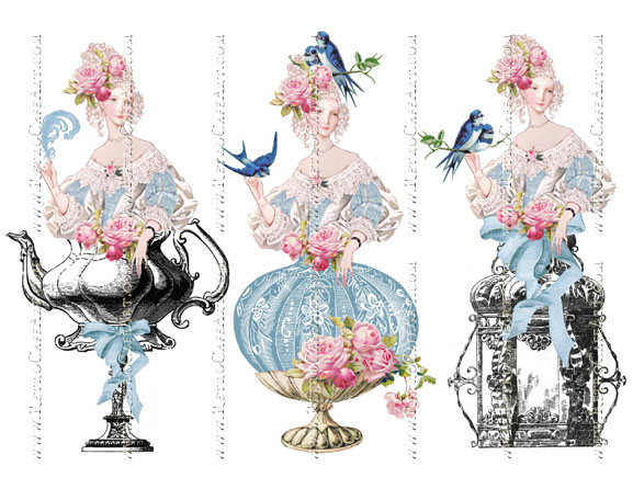Large Blue Bird Marie Antoinette Collage Sheet by Cassandra VanCuren - CV101