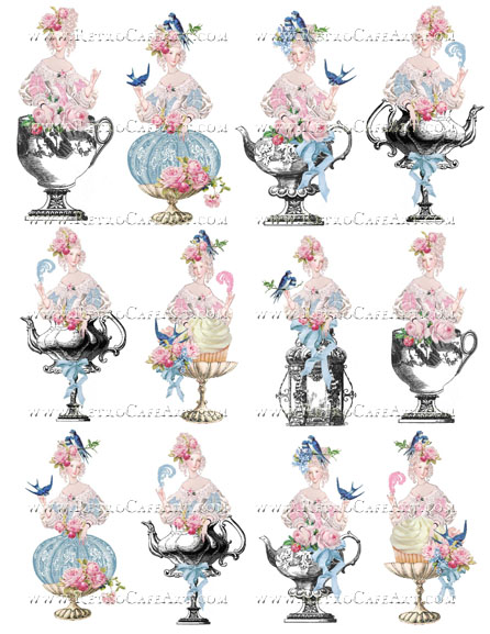 Blue Bird Marie Antoinette Collage Sheet by Cassandra VanCuren - CV103