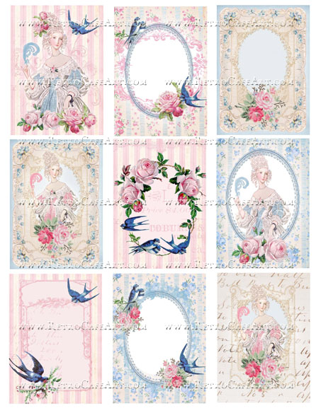 Blue Bird Marie Antoinette Backgrounds Collage Sheet by Cassandra VanCuren - CV104