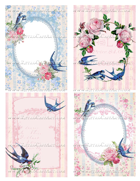 Blue Bird Marie Antoinette Large Backgrounds Collage Sheet by Cassandra VanCuren - CV105