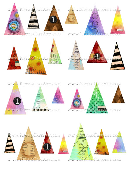 Small Doodle Triangles or Hats Collage Sheet by Cassandra VanCuren - CV111