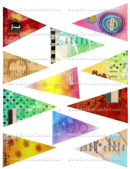 Large Doodle Triangles Collage Sheet by Cassandra VanCuren - CV112