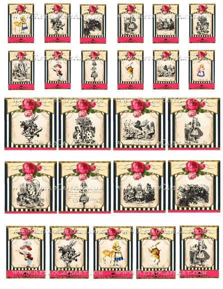 Alice In Wonderland Charms Collage Sheet by Cassandra VanCuren - CV117