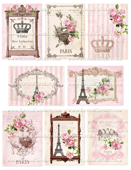 Pretty Paris Pink Collage Sheet by Cassandra VanCuren - CV85
