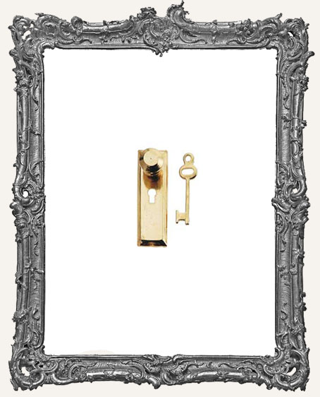 Tiny Brass Door Knob Key Plate and Key - Traditional Solid EXTRA SMALL