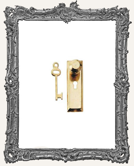 Tiny Brass Door Knob Key Plate and Key - Traditional Solid