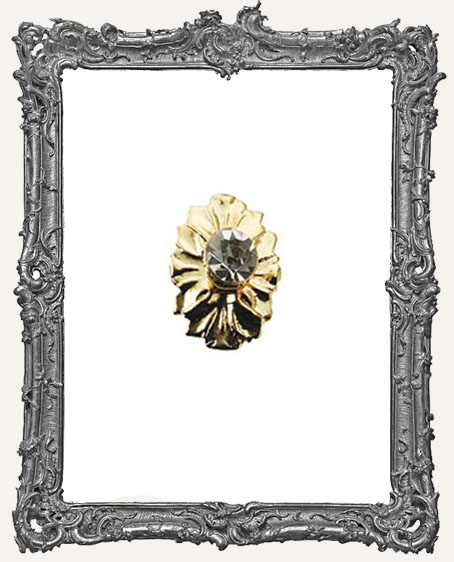 Tiny Brass Door Knob Plate - Crystal Floral