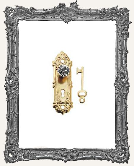 Tiny Brass Door Knob Key Plate and Key - Fancy Crystal Knob