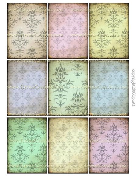ATC Size Chic Damask Backgrounds Collage Sheet by Debrina Pratt - DP106
