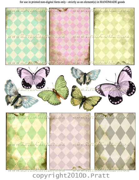 ATC Size Harlequin and Butterflies Collage Sheet by Debrina Pratt - DP111