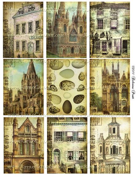 ATC Size Dwellings Collage Sheet by Debrina Pratt - DP129