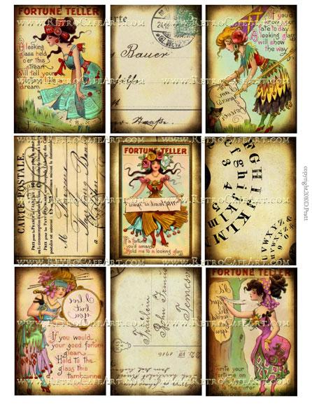 ATC Size Fortune Teller Collage Sheet by Debrina Pratt - DP131