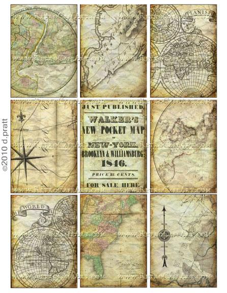 ATC Size Salvaged Maps Collage Sheet by Debrina Pratt - DP136