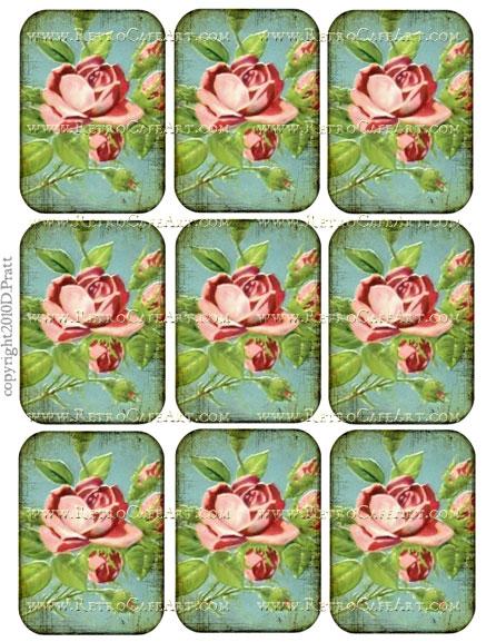 ATC Size Vintage Rose Romance Collage Sheet by Debrina Pratt - DP141