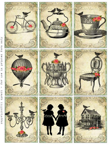 ATC Size Vintage Whimsy Collage Sheet by Debrina Pratt - DP142