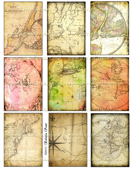 ATC Size World Maps Collage Sheet by Debrina Pratt - DP143
