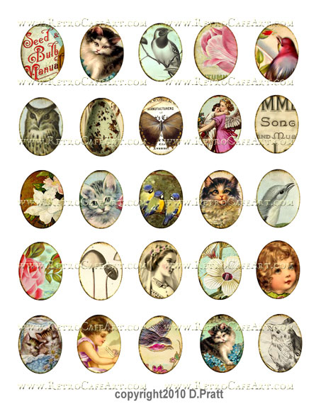 40x30mm Ovals Collage Sheet by Debrina Pratt - DP152