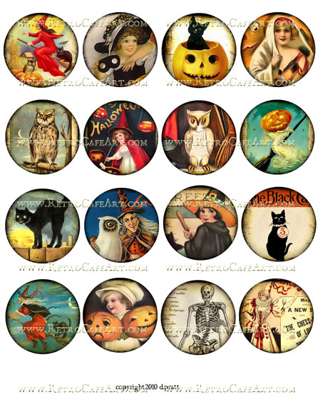 2 Inch Circles Halloween Collage Sheet by Debrina Pratt - DP153