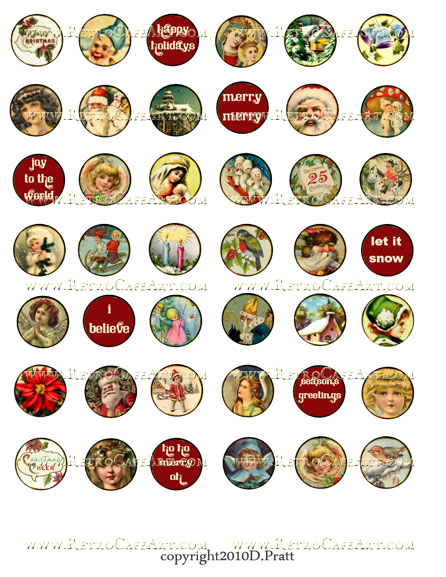 1 Inch Circles Christmas Collage Sheet by Debrina Pratt - DP155