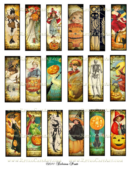 1 x 3 Inch Microslides Halloween 2 Collage Sheet by Debrina Pratt - DP15