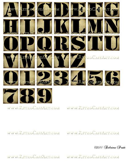 1 Inch Squares Grunge Alphabet Collage Sheet by Debrina Pratt - DP169