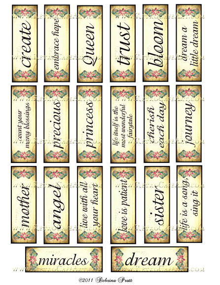 1 x 3 Inch Microslides Collage Sheet by Debrina Pratt - DP16