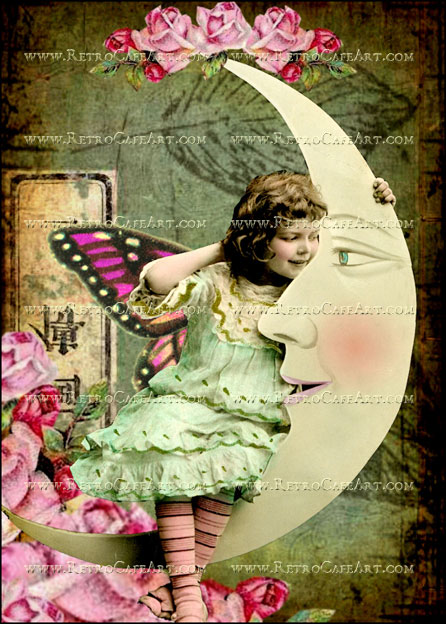 5 x 7 Inch Girl in the Moon Image by Debrina Pratt - DP181