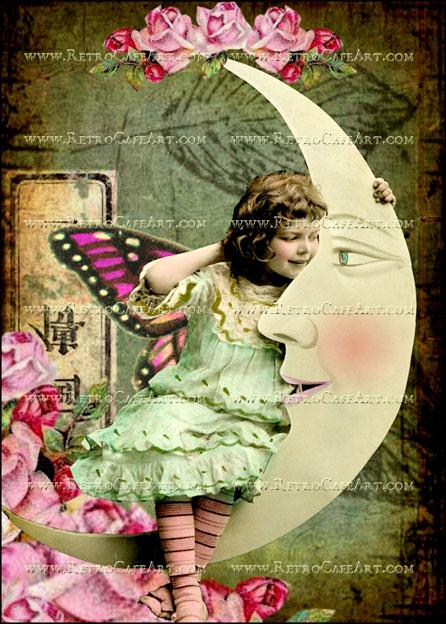 5 x 7 Inch Girl in the Moon Image by Debrina Pratt - DP181