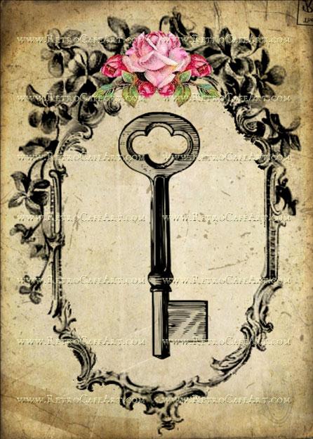 5 x 7 Antique Skeleton Key Image by Debrina Pratt - DP186