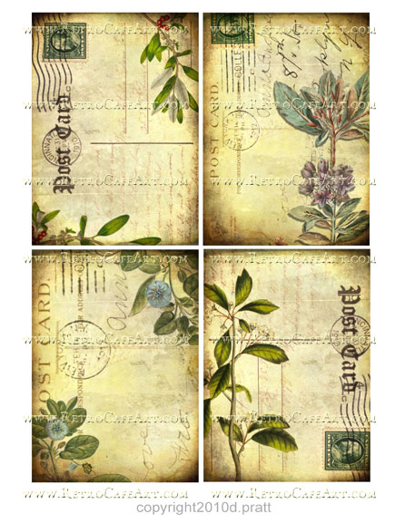 Vintage Botanical Images Collage Sheet by Debrina Pratt - DP188