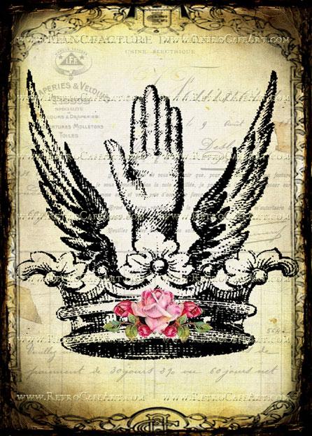 5 x 7 Hand and Crown Image by Debrina Pratt - DP191