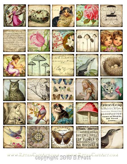 1.5 Inch Squares Collage Sheet by Debrina Pratt - DP1
