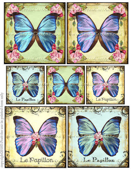 Assorted Squares Butterfly Collage Sheet by Debrina Pratt - DP201