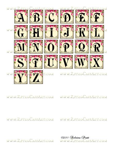 1 Inch Squares Rosey Posey Alphabet Collage Sheet by Debrina Pratt - DP203