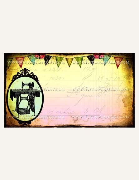 Vintage Sewing Business Card Template by Debrina Pratt - DP218