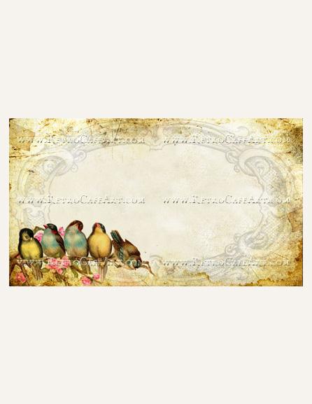 Vintage Birds Business Card Template by Debrina Pratt - DP219