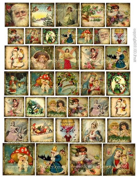 Assorted Squares Christmas Collage Sheet by Debrina Pratt - DP238