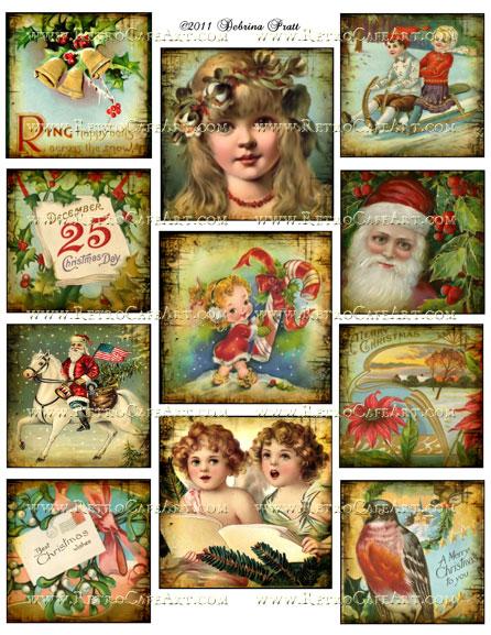 Assorted Squares Christmas Collage Sheet by Debrina Pratt - DP239