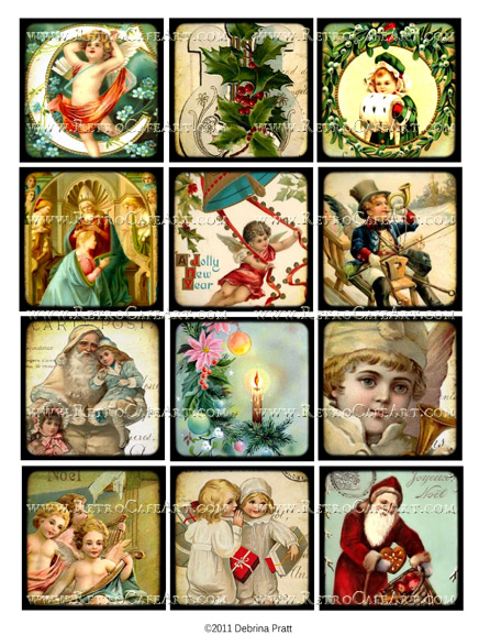 2.5 Inch Squares Christmas Collage Sheet by Debrina Pratt - DP246